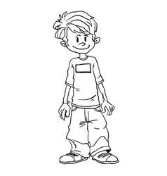 Boy standing black vector