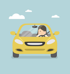 businesswoman driving yellow car on the road vector image