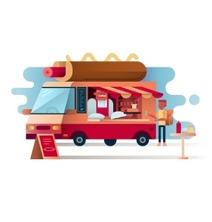 Cafe van hot dogs vector