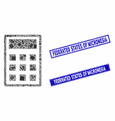 Calculator mosaic and grunge rectangle federated vector
