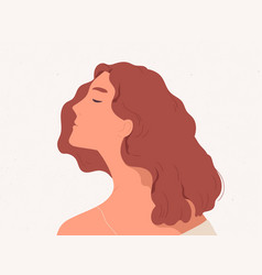 Calm and peaceful woman dreaming or thinking vector