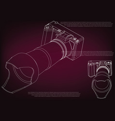 camera on burgundy vector image
