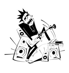 Cartoon guitar player black on white isolated illu vector