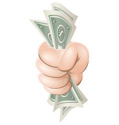 cartoon hand holding money vector image