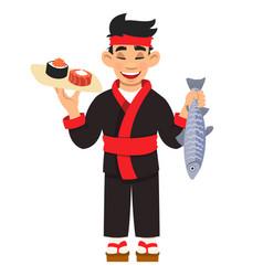 Cartoon japanese chef cooking sushi rolls set vector