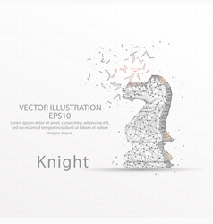 chess knight low poly wire frame on white vector image