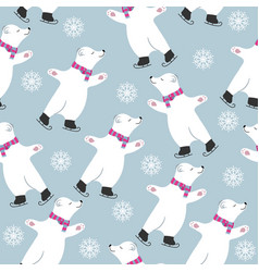 christmas card collection with polar bears vector image