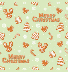 christmas seamless pattern gingerbread cookies vector image