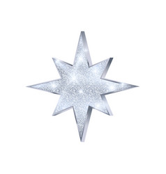 christmas silver star luxury and glamour glitter vector image