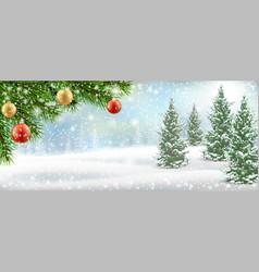 Christmas winter landscape pine tree snow vector