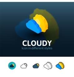 Cloudy icon in different style vector