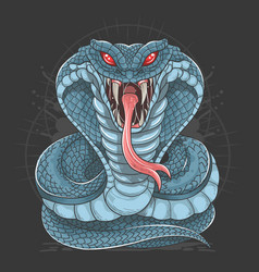 cobra snake full body blue vector image