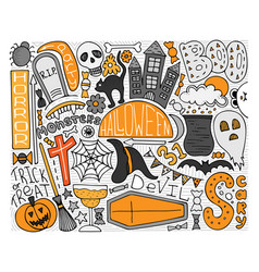 colorful doodle art for halloween party vector image