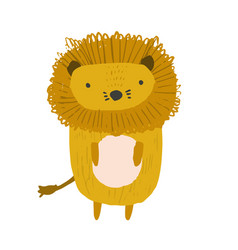cute childish hand drawn orange lion vector image