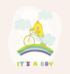 Cute parrot riding a bike bashower card vector