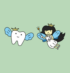 cute tooth fairy flying with healthy teeth vector image