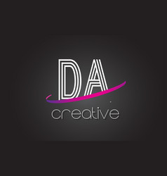 Da d a letter logo with lines design and purple vector