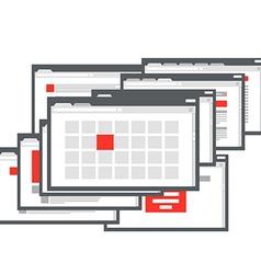 Different browser windows communication scheme vector