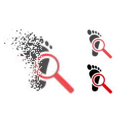 Disappearing dot halftone audit footprint icon vector