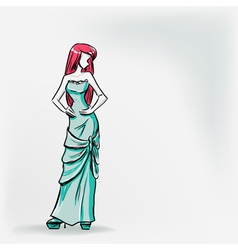 Elegant woman in long evening dress vector