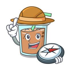 Explorer bubble tea mascot cartoon vector