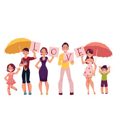 family members holding letters of the word love vector image