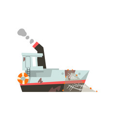 Fishing trawler vessel for industrial seafood vector