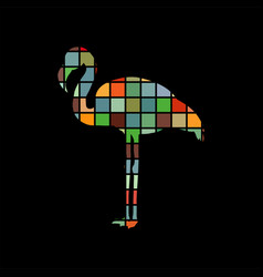 flamingo bird color silhouette animal vector image