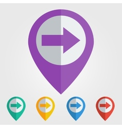 flat pin with right arrow icon vector image