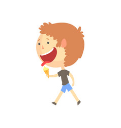 funny smiling cartoon boy eating ice cream vector image
