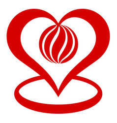 global heart icon simple style vector image