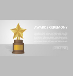 golden star award on brown base gold trophy banner vector image