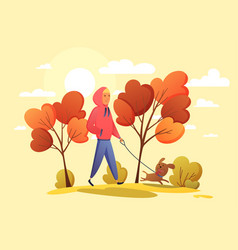 happy boy with dog in an autumn park trend colors vector image