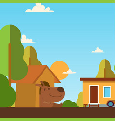 happy dog in doghouse simple vector image