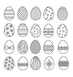 Happy easter eggs thin line icons vector