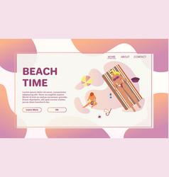 Happy people sunbathing on beach in top view vector