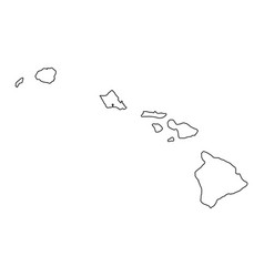 hawaii hi state border usa map outline vector image