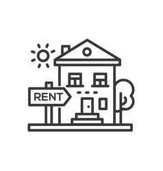 House for rent - line design single isolated icon vector