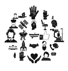 human resources icons set simple style vector image