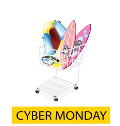 Inflatable Boat and Surfboards in Cyber Monday vector image