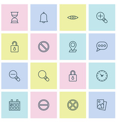 internet icons set collection safeguard bell vector image