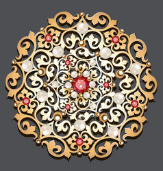 Jewelry gold brooch with precious stones and vector