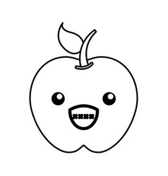 kawaii apple cartoon vector image