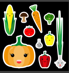 kawaii vegetables sticker set icon flat vector image