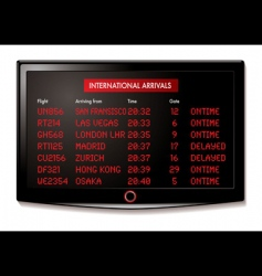 LCD airport arrivals vector image