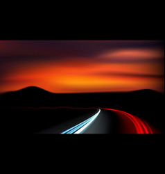 long exposure vehicles light trails on freeway vector image