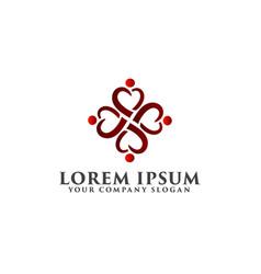 Love heart people logo design concept template vector