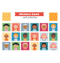 memory game with a cartoon children characters vector image