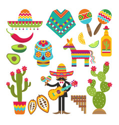 mexican symbols design template of vector image