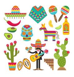 Mexican symbols design template vector